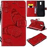 BoxTii Moto G4 Lederhülle, Kratzfeste Schutzhülle [mit Frei Panzerglas Displayschutzfolie] Karte Halter Hülle Etui für Moto G4 (#6 Rot)