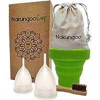 NakungooCup Copa Menstrual Kit Suave Organica Certificado 2 Copas en Talla S y L Esterilizador de Silicona Lavable Dura 12 Horas 30ml Ideal Para Principiantes