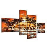 Bilderdepot24 Giraffe Afrika M3 handgemaltes Leinwandbild 120x70cm 4 teilig 360