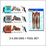 #4: Jovi Air Hardening Clay Super Value Pack of 3 bars of 250 gms each - White, Grey and Terracotta + (tool set)