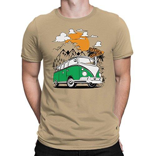 Beige Bedruckt (PAPAYANA BULLI-ADVENTURE-BUS-GRÜN - Herren Fun T-Shirt - Bedruckt - Medium Khaki)