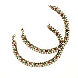 Charms Red & Green Stone With Pearl Alloy Anklet For Women & Girls