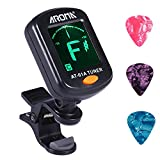 Accordeur de Guitare pour Ukulélé, Guitare, Basse, Mandoline, Violon, Grand Ecran Couleur LCD pour Guitare Tuner, Accordeur Chromatique, 3 Pcs Pale de guitare inclus