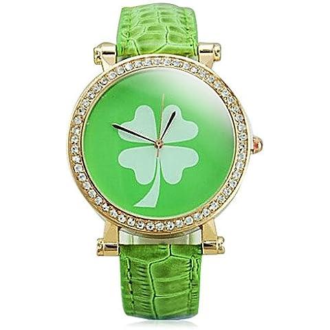 TISAN moda femenina rhinestones reloj de pulsera guartz trébol de cuatro hojas (colores surtidos) ,