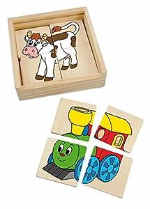 Woodyland Rompecabezas Mini Puzzle - Legespiel 4 Piezas - Animales del Tren - Holzpuzzle Madera - Madera Rompecabezas de baldosas Rompecabezas de Madera para niños