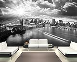 Selbstklebende Fototapete - New York - schwarz Weiss - 155x100 cm - Tapete mit Kleber – Wandtapete – Poster – Dekoration – Wandbild – Wandposter – Wand – Fotofolie – Bild – Wandbilder - Wanddeko