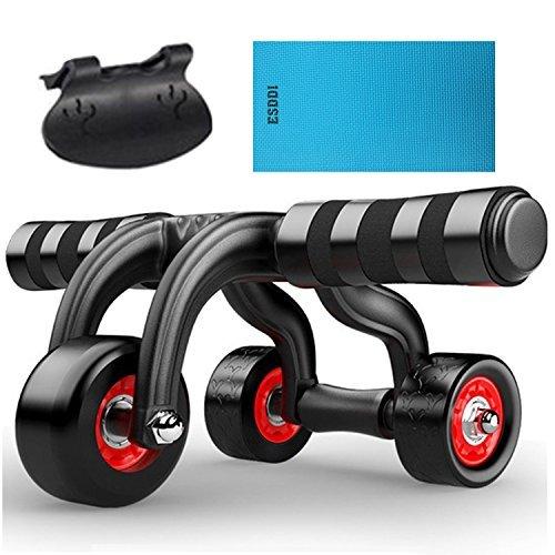 ESDDI 3 Ab Roller Bauchtrainer Bauchroller mit Stopper und Schutzmatte für Zuhause Bauchmuskel Trainer
