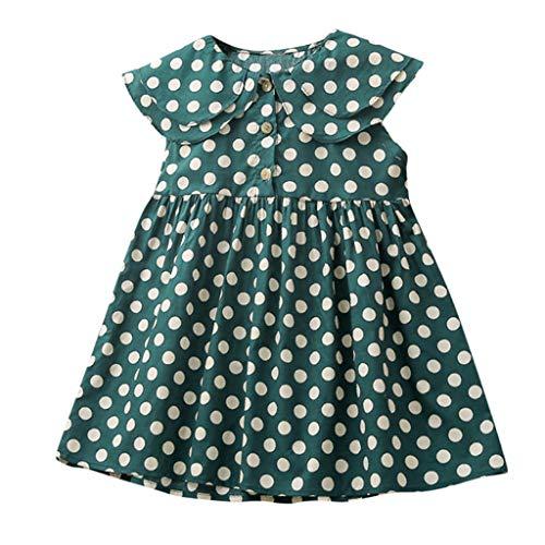 Livoral Madchen Kleider festlich Ärmelloses, gekräuseltes Prinzessinkleid mit Punktmuster für Kleinkinder(Grün,130)