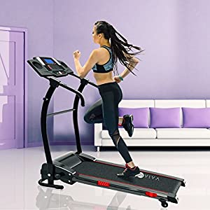 AsVIVA Laufband T17 Cardio Runner Heimtrainer – 12 km/h Geschwindigkeit, elektronischer 2,5 PS HighTech Motor – Fitnesscomputer mit 20 Trainingsprogrammen, manuelle 5% Steigung, kompakt klappbar