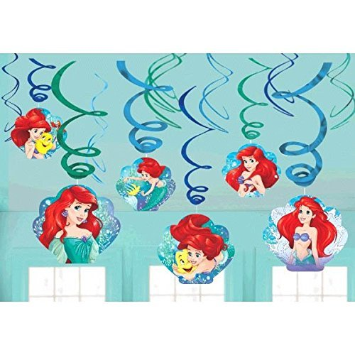 d Ariel Dream Big Party Foil Hanging Swirl Decorations / Spiral Ornaments (12 PCS)- Party Supply, Party Decorations by The Little Mermaid ()