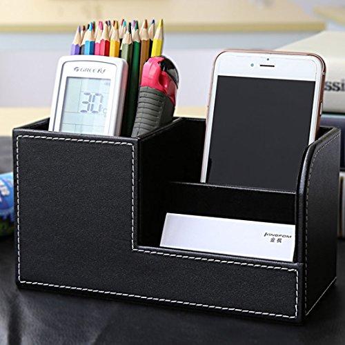 Organizer Schreibtisch Zubita Tisch Organizer / Multifunktionale Ablagesystem mit Bürobedarfset / Aufbewahrungsbox / Kosmetikbox Stifthalter / Kartenetui / Leder büro Speicherabteil ( Schwarz )