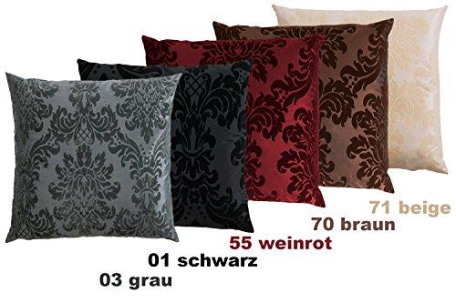 Opus Kissenhülle ca. 50 x 50 cm Taft Samt Flockdruck Farbe (03 Grau) 1 Stück -