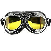 Gafas cromadas de Nsstar para moto, scooter, bicicleta o motocross, protección contra el viento y los rayos UV, diseño de piloto de la RAF, amarillo, Tamaño libre