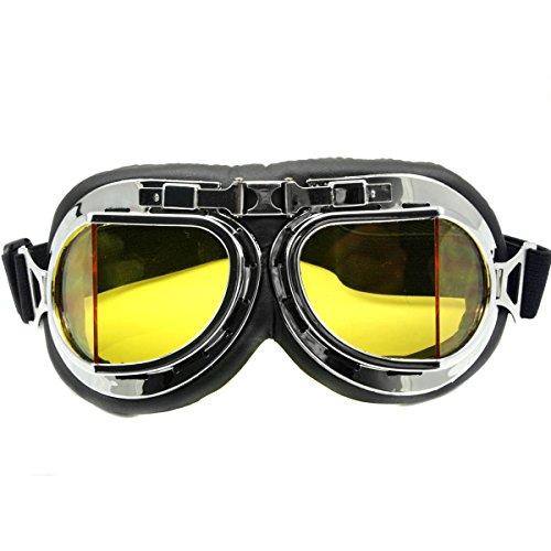 Nsstar Raf-/Piloten-/Flieger-/Motorrad-/Roller-/ Biker-/Motocross-Schutzbrille, schützt vor Sonne, UV-Licht, Wind, Chrom-Rahmen, gelb, Free Size