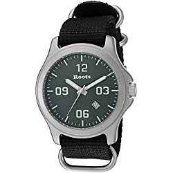 Roots Men's 'Core' Quartz Stainless Steel and Nylon Casual Watch, Color:Black (Model: 1R-LF400GN7B)