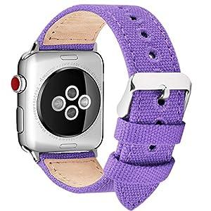 Fullmosa Kompatibel Apple Watch Armband in 8 Farben, Leinwand Canvas NATO Style für iWatch Armband Series 4 (40mm 44mm) Series 3 (38mm 42mm) Series 2 Series 1