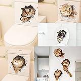 Gazechimp 5er-Set 3D Kätzchen Wandaufkleber Lebhafter Aufkleber für Badezimmer