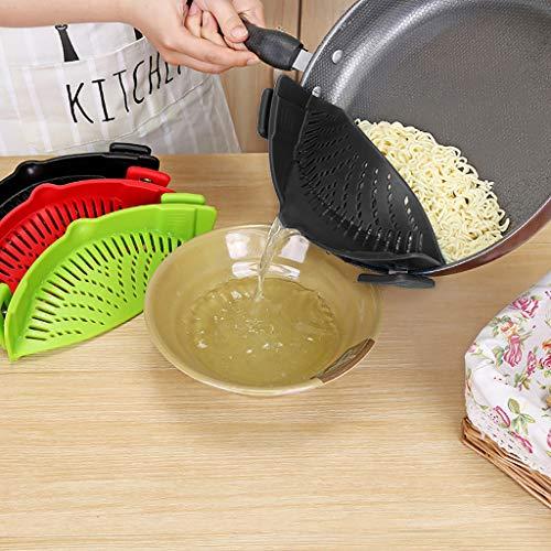 TAOtTAO Drainer Küchen-Extras Clip-On-Clip aus Silikon und Siebclip-Sieb (Schwarz)