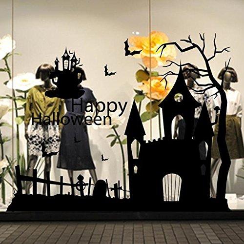 Halloween Spukhaus Glas Mauer Aufkleber Dekoration Boden Wandtattoo Art ()