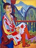 Posterlounge Alu Dibond 30 x 40 cm: Sitzende Dame (Erna Kirchner) von Ernst Ludwig Kirchner/akg-Images