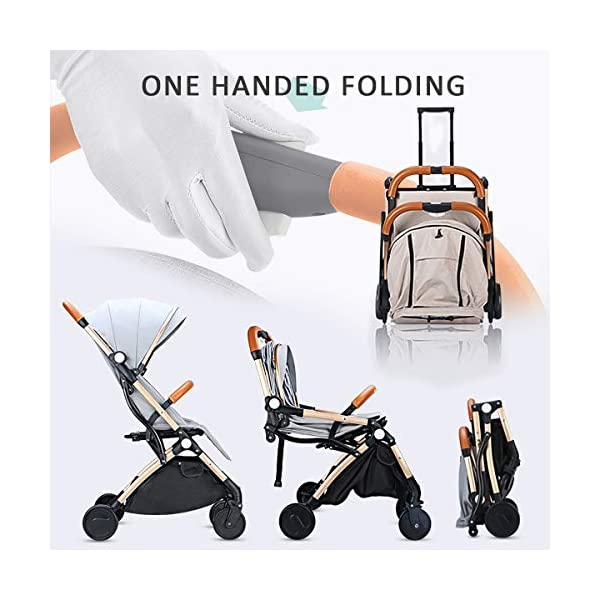 SONARIN Lightweight Stroller,Compact Travel Buggy,One Hand Foldable,Five-Point Harness,Great for Airplane(Dark Blue) SONARIN Size:Suitable from birth up to 15kg, length:66CM, width:48cm, height:98cm.Folding up:60CM*48CM*26CM. Great for Airplane,can be placed in any car boot. Safe:With sturdy aluminum alloy, compact body and five-point seat harness,each stroller has been pressure tested to provide security for each baby. Quality and Design:The backrest of the stroller supports sitting, half lying, lying,all three angles,lengthened and widened sleeping basket. Four wheel independent shock absorbing and built-in bearings make it smoother and quieter. 3