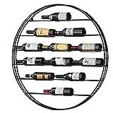 Cremagliera del vino Portabottiglie Da Vino In Ferro Bottiglie Rotonde A Parete Nere Espositore