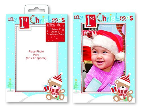 Price comparison product image Pack of 8 Baby's 1st Christmas Photo Frame Cards