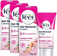 Veet Silk & Fresh Hair Removal Cream, Normal Skin -50 g (Pack o