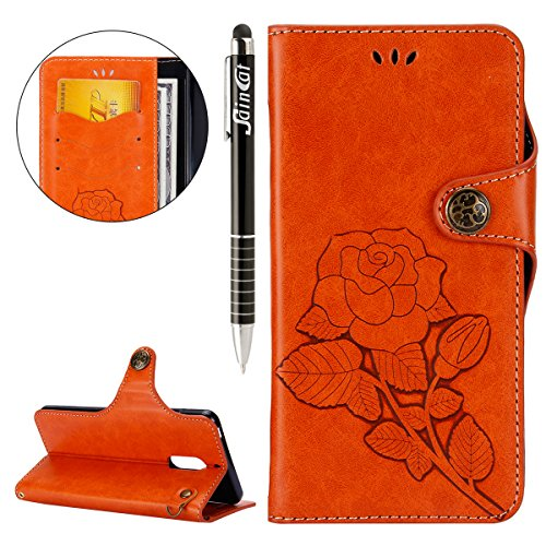 Custodia Nokia 6, Cover Nokia 6 Fiori Rose, SainCat Custodia in Pelle Cover per Nokia 6, Ultra Sottile Anti-Scratch Book Style Custodia Morbida Protettiva Cover Fiori Vintage Ultra Soft PU Leather Cover Book Antiscivolo Custodia a Portafoglio Shock-Absorption Wallet Cover Supporto Skin Cover Shell Magnetico Flip Case, ID Slot per Scheda Protettiva Custodia Coperture Bumper Cover per Nokia 6-Arancione