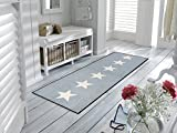Sehr hochwertiger Küchenläufer Größe ca. 60 x 180 cm - Küchenmatte grau - Stars - Sterne - Dekoläufer für Küche und Bar / Teppich Läufer Küche / waschbare Küchenläufer / Küchendeko Modell ,,COOKING & WASH