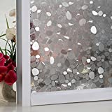 New Lifetree No Glue Window Cling Static Cling Decorative Frosted Privacy Window Glass Film Glass Heat Control Anti Uv for Bathroom Office Home Kitchen (White,17.7 by 78.7inch )