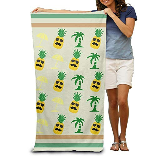 Pineapple Sunglasses Palm Tree Sun Umbrella Bath Towels Beach Towels Pool Towels Adults Soft Absorbent 31 x 51 Inch