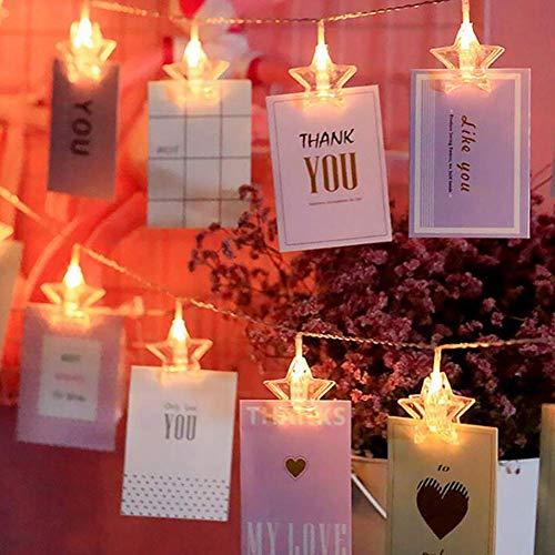 LED Fotolichterkette Sterne Photoclips Clip Bilder Lichterkette 40 LEDs Fotolichter Kette USB für Party, Garten, Weihnachten, Halloween, Hochzeit, Beleuchtung Deko (Basteln Halloween Schlafzimmer Für Ihr)