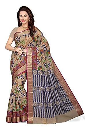 Rani Saahiba Women's Poly Cotton Saree With Blouse Piece (Skr1751, Pink, Free Size)