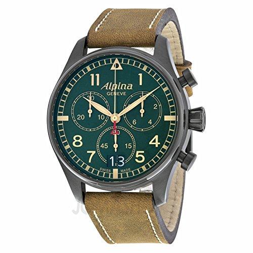 Alpina Alpina Startimer Pilot Chronograph Green Zifferblatt Brown Leder Mens Watch AL-372GR4FBS6