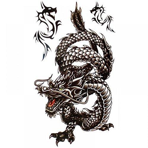 King Horse frais autocollant imperméable à l'eau et de tatouage de dragon noir pour les hommes
