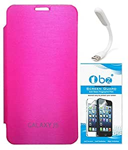 TBZ Flip Cover Case for Samsung Galaxy J5 with Flexible USB LED Light Lamp and Tempered Screen Guard -Pink