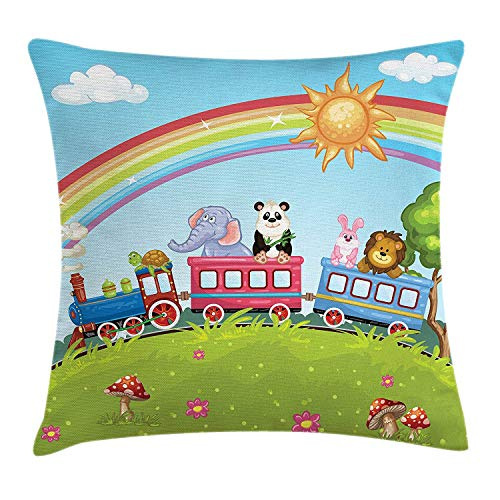 ZiJface Zoo Throw Pillow Cushion Cover, Colorful Cartoon Animal Train Rainbow Sun Sky Mushrooms Flowers Tree Playful Funny, Decorative Square Accent Pillow Case, 18 X 18 Inches, Multicolor