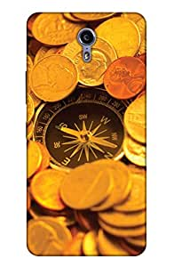 PrintHaat Designer Back Case Cover for Lenovo ZUK Z1 (compass :: gold coins :: compass with the bunch of gold coins in golden and brown)