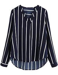 Zarupeng Mujer Blusa Camisa con Botones Cuello En V Camiseta de Mangas Largas