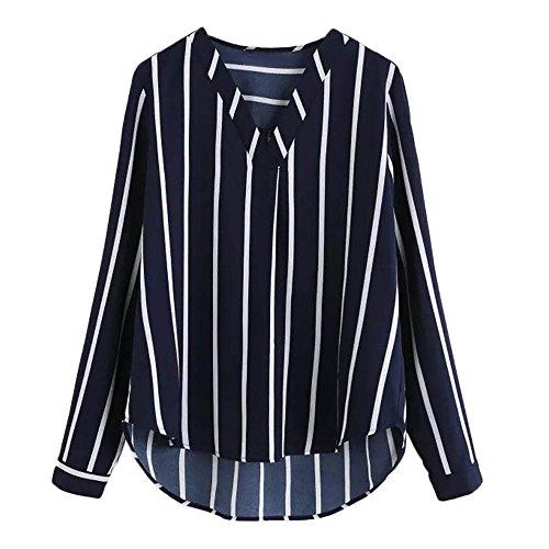Camisa Mujer Raya Cuello Redondo Manga Larga Casual Suelto Blusa Rojo y Top  Azul Jersey Stripe 0fa64249e1d76