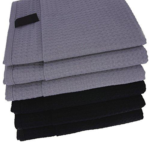 6x Geschirrtücher / Tücher aus 100% Baumwolle Waffel-Piqué in 3x Schwarz und 3x Grau