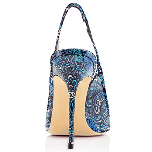 EDEFS - Scarpe con Tacco Donna - Scarpe Col Tacco con Cinturino a T Donna Floral Blue