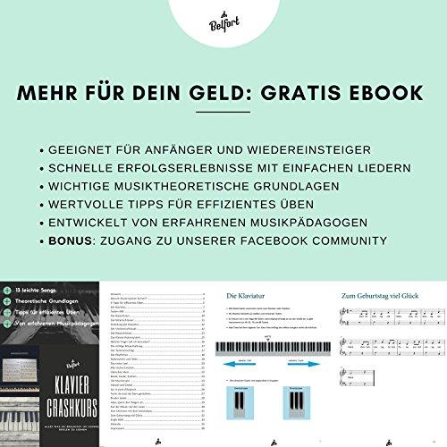 Klavier + Keyboard Noten-Aufkleber für 49 | 61 | 76 | 88 Tasten + Gratis Ebook | Premium Piano Sticker Komplettsatz für schwarze + weisse Tasten | C-D-E-F-G-A-H | einfache Anleitung auf Deutsch - 6