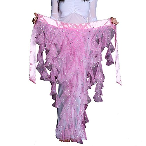lady's bauchtanz hip schal gürtel sequins latin dance quaste wave rock . pink . one size (Lyrical Dance Kostüme Rosa)
