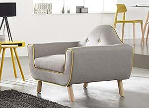 Fauteuil en tissu gris et jaune COPENHAGUE FAUTEUIL Gris foncé