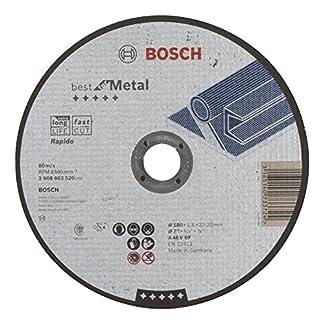 Bosch 2 608 603 520 – Disco de corte recto Best for Metal – Rapido – A 46 V BF, 180 mm, 1,6 mm (pack de 1)