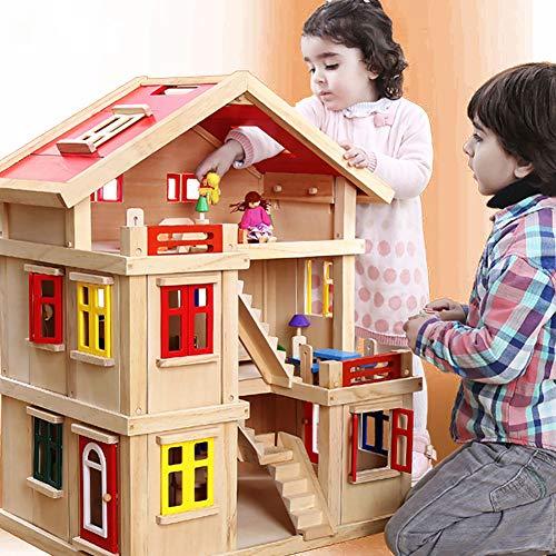 WDXIN Puppenhaus Puzzle Spielzeug Holzhaus für Junge Mädchenhaus-Simulationssuite Spielzeug Geburtstagsgeschenk Intellektuelle Entwicklung.