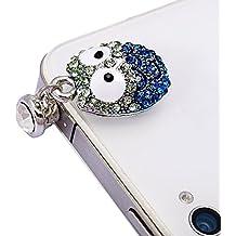 JUNGEN Moda Auriculares de tapón de polvo Tapa encanto auriculares accesorios Luminoso de iPhone7 HTC Samsung Ipad Sony Nokia etc Azul