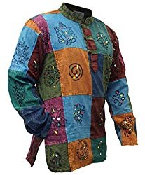 SHOPOHOLIC FASHION Männer Acid Washed Bunt Patchwork Hippie Grandad-Hemd Kurta Tops (3XL)